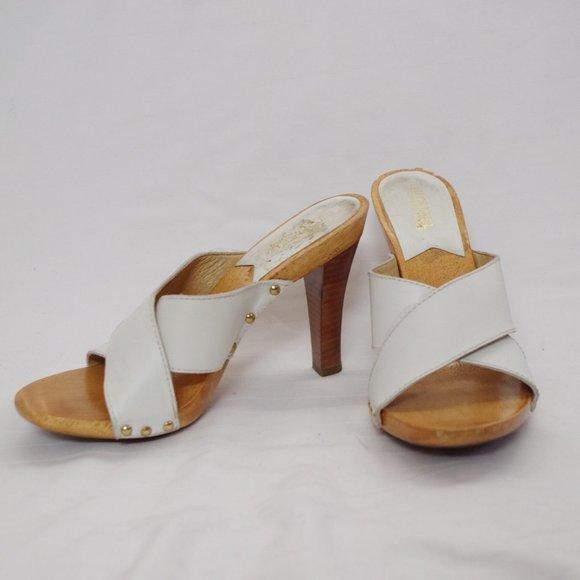 *3 For $25* Michael Kors White Leather Heel Slides